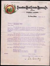 1911 St Paul Mn - Canadian Real Estate Agency Co History Farm Lands Letter Head