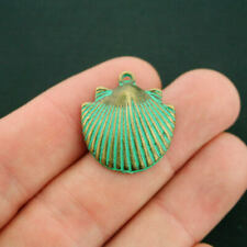 2 Seashell Pendant Charms Antique Bronze Tone With Faux Patina 2 Sided - BC210