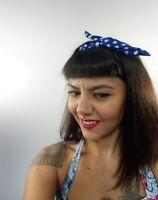 Bandeau foulard cheveux rigide cordon maléable tissu bleu indigo pois blancs