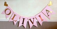 GIRLS PERSONALISED BIRTHDAY PARTY BANNER PINK AND GOLD BUNTING (UP TO 9 LETTERS)