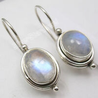 "925 Sterling Silver BLUE FIRE RAINBOW MOONSTONE Beautiful Earrings 1"" NEW"