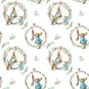 Beatrix Potter Peter Rabbit Christmas Traditional Wreath 2802C-03 Fabric BTY