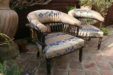 Pair of Victorian Arm Chairs, Old Pair of Armchairs, 2 Antique Captains Chairs