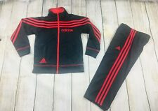 Adidas Boys Black Red Jacket & Pants 2 Piece Tracksuit Set Size 5 - Very Good!