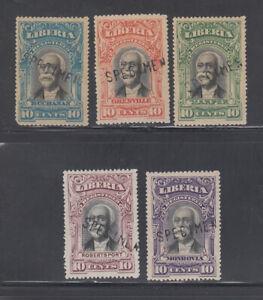 Liberia # F10-14 MINT Overprinted SPECIMEN 1903 Registration Set