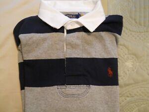 Polo Ralph Lauren Long Sleeve Rugby Shirt Custom Slim Fit M Gray/Navy NWT Free S