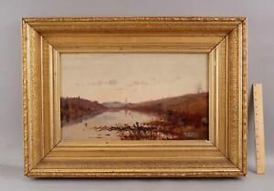 Antique William Preston Phelps NH Impressionist Landscape Fisherman Oil Painting
