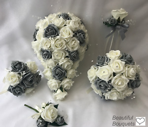 GREY Wedding bouquets Flowers Ivory Rose Bouquet Bride Bridesmaid  Flower-Girl