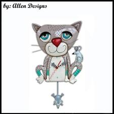 Gorgeous MOUSER Cat Mice Designer Pendulum Wall Clock Allen Designs Gift