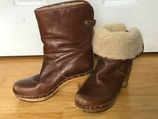 UGG S/N 1958 Leather Lynnea Mid Calf Shearling Sherpa Lined Boots Size 9