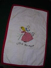 CUTE-Antique Hand Embroidered & Applique Baby Doll Quilt~Nursery Rhyme Bo-Peep
