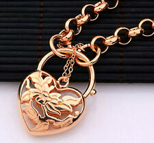 18k rose gold filled GF filigree heart padlock euro bolt  bracelet BL-A174