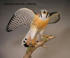 "9-1/2"" Open-winged American Kestrel  Backyard Bird Carvings/Birdhug"