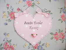 Handmade PERSONALISED Heart Plaque Sign ~ Girls Bedroom ~ Flower Polka Dot
