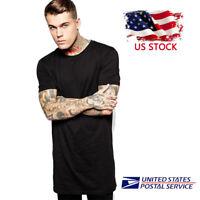 Mens Hipster Hip Hop Long Drop Tail T Shirts Side with Zipper Men Short Sleeve T