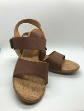 """Korks by KORK-EASE Brown Leather Slingback Sandals 2.5"""" Heel Size 9M"""