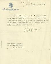 Lettera Autografo Ministro della Guerra Generale Pietro Gazzera Fascismo 1930
