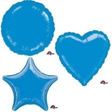 BLUE METALLIC HEART STAR CIRCLE FOIL BALLOON DECORATOR BIRTHDAY BALLOONS