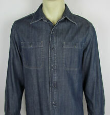 LL Bean Flannel lined denim shirt jacket Chambray button front Plaid Mens Size S