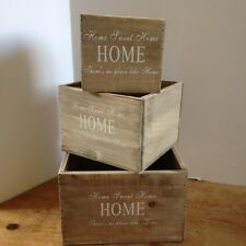 Shabby Chic set of 3 Natural Wood Storage Boxes