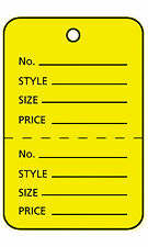 Large Unstrung Yellow Perforated Coupon Price Tags 1000 Included