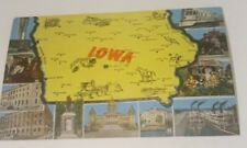 Vintage 1940's linen postcard IOWA state map & 11 famous views tourism card