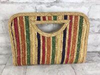 "Vintage Straw Woven Purse Rainbow Clutch Tote Festival Beach Bag 70s 12x8"""