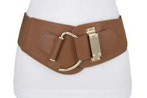 Women Brown Faux Leather Elastic Stretch Band Hot Belt Hook Buckle Size L XL 2XL