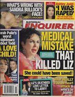 National Enquirer Tabloid Magazine Elizabeth Taylor Sandra Bullock Ashley Judd