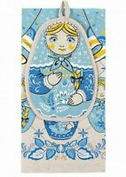 Nesting Doll Kitchen Towel + Potholder Set 100% Natural Cotton Linen Made Russia
