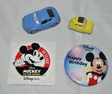 Disney Store Cars Set Loose Sally & Luigi & 5 Stickers & Happy B-Day Mickey Pin
