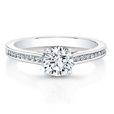 0.66 Carat Brilliant Cut Diamond Engagement Ring 14K Solid White Gold Size M N P