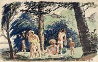 Impressionist Karl Adser *1912 Mütter mit Kindern am Badesee Sommer Furesø