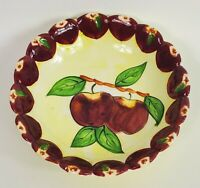 "Seymour Mann Apples Bowl Hand Painted Faience 6"" Red Yellow Green Multicolor"