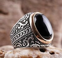 Turkish 925 Sterling Silver Lux black onyx stone mens man ring ALL SİZE us 004