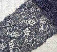 """0.5 Yards 11/"""" Wide Rayon Venise Vintage Floral Lace Trim Black s0272"""