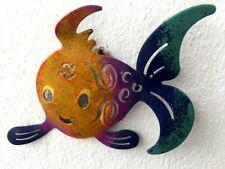 Wanddeko Fisch  Mallorquin klein gelb-lila  10 x 17cm  Metall Deko Figur  Hänger