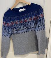 Seasalt Ladies Fairisle Wool Jumper Sz10 Pristine Winter Spring Warm Layers
