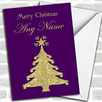 Purple & Gold Xmas Tree Personalized Christmas Card
