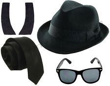 1980'S BLUE BROTHERS HAT TIE GLASSES SIDEBURNS  FANCY DRESS COSTUME SET