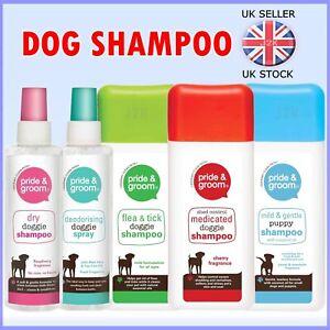 Pride & Groom Pet Dog Dry Shampoo Spray Raspberry Fragrance Medicated Flea Tick