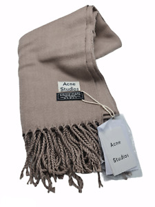 ACNE STUDIOS TAUPE WOOL CANADA LARGE FRINGE SCARF - AUTHENTIC