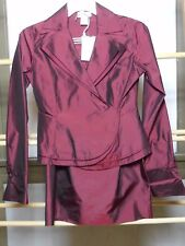 Women's Nieman Marcus Exclusive 100% Wine Silk Moire Suit Sz. 6 NWT WOW!!