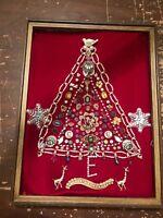 Framed Vintage Jewelry Christmas Tree Art