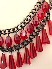 Tone Premier Urban Chic 3E Designer Statement Necklace Red Crystals Hematite