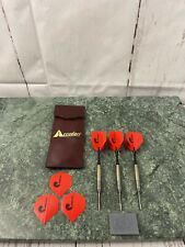 New listing Vintage  Accudart Steel Tip Dart Set Of  3 With Leather Case Extra Fins