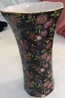 Lovely Vintage Chintz Vase * Scalloped, Floral Pattern, Gold Trim * Baum Bros *
