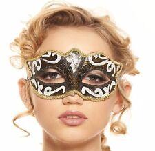Black and White Mardi Gras Renaissance Plastic Costume Masquerade Mask Unisex