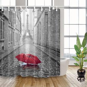 Romantic Paris Grey Street Red Umbrella Waterproof Fabric Shower Curtain 71 inch