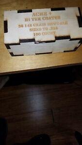 Empty Wood Box Acme Bullet Company Hi Tek Coated 38 Cal 158 SWC-NLG .358 Qty 2